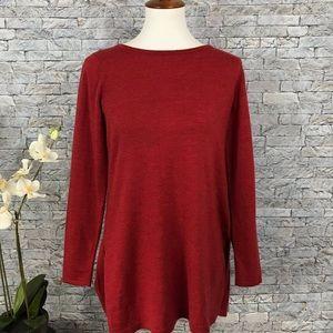 Eileen Fisher Burnt Red / Orange Merino Wool Top